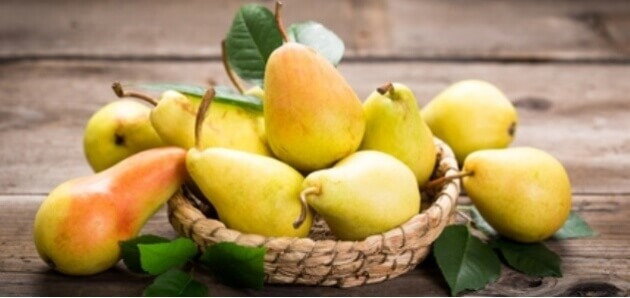 pears on a basket