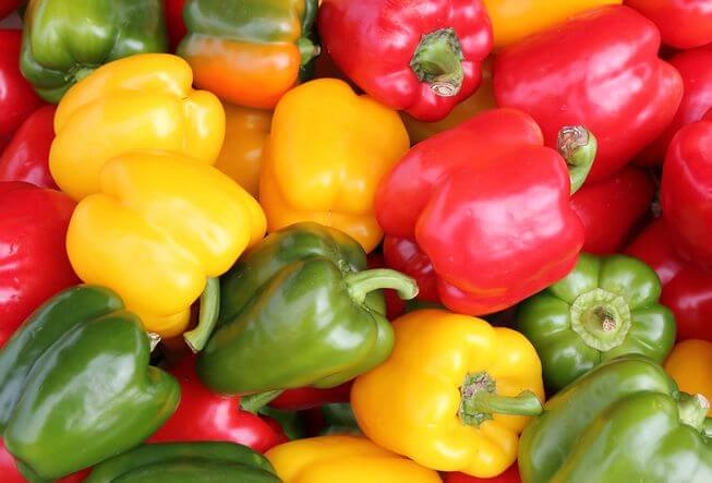 colored bell peppers green red yellow